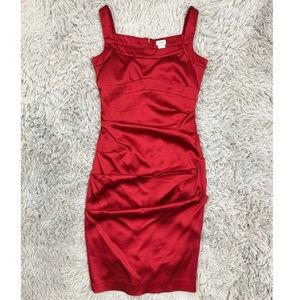 Cache Red Satin Cinched Dress Formal 6 EUC
